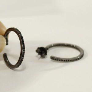 Crislu Gunmetal Pave CZ Hoop Earrings